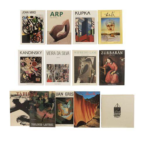 LIBROS SOBRE ARTE Y ESCULTURA. EDICIONES POLÍGRAFA. Títulos: Toulouse Lauterc / Kandinsky / Joan Miró / Wilfredo Lam / Táples. Pzas:13.