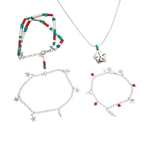 Collar y tres pulseras con corales rojos y turquesas en plata .925.