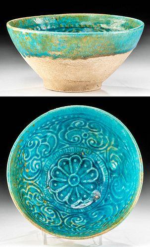 12th C. Seljuk Bamiyan Turquoise Glazed Bowl - Florals