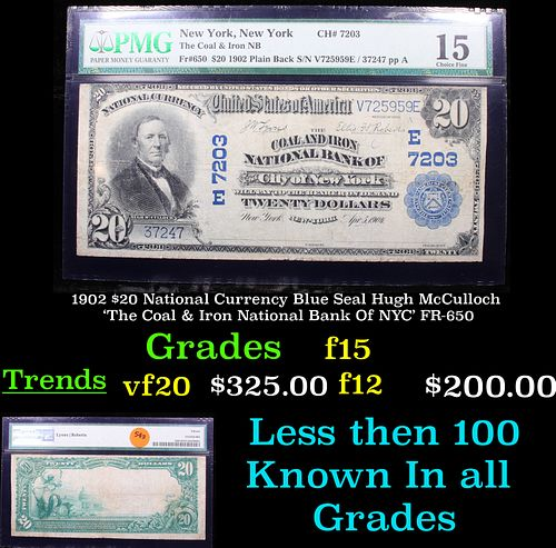 1902 $20 National Currency Blue Seal Hugh McCulloch 'The Coal & Iron National Bank Of NYC' FR-650 GRaded f15 By PMG