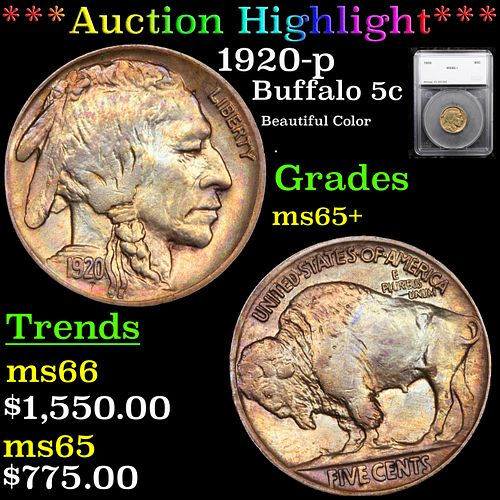***Auction Highlight*** 1920-p Buffalo Nickel 5c Graded ms65+ By SEGS (fc)
