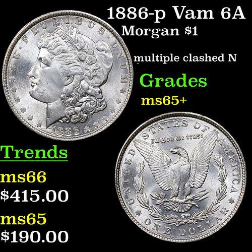 1886-p Vam 6A I2 R5 Morgan Dollar $1 Grades GEM+ Unc