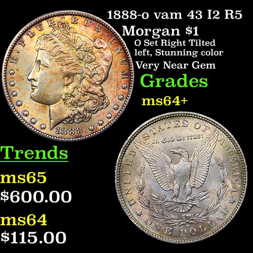 1888-o vam 43 I2 R5 Morgan Dollar $1 Grades Choice+ Unc