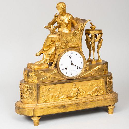 Empire Ormolu Figural Mantle Clock