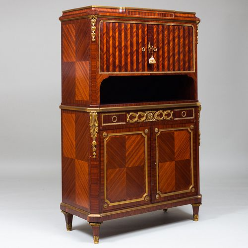 Louis XVI Style Gilt-Bronze-Mounted Mahogany Parquetry Cabinet