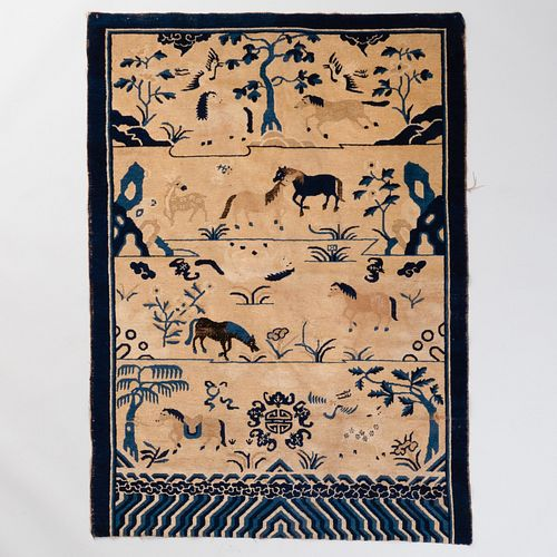 Chinese Art Deco Blue and White Rug