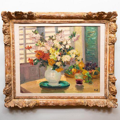 Marcel Dyf (1899-1985): Nature mort aux fleurs sur la table