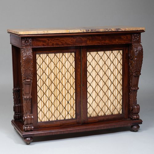 Late Regency Carved Mahogany and Grillwork Side Cabinet