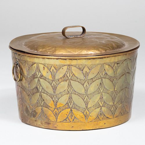 Continental Repoussé Brass Pot and Cover