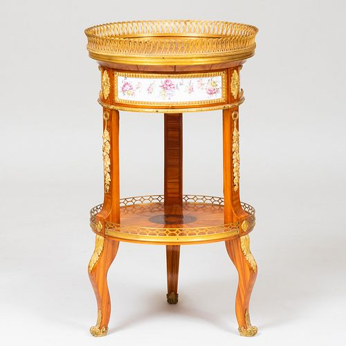 Louis XV/XVI Style Ormolu and Porcelain-Mounted Tulipwood Parquetry Side Table