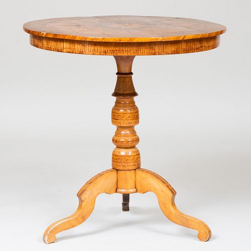 Continental Mahogany and Fruitwood Parquetry Center Table