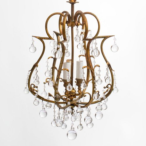 Small Hollywood Regency Style Gilt-Metal, Wood and Glass Three-Light Chandelier