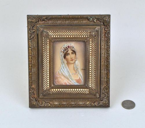 """Miniature Portrait Of Lady, Signed """"Hermo"""""""
