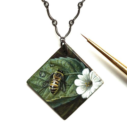 Bee and Flower Painted Pendant