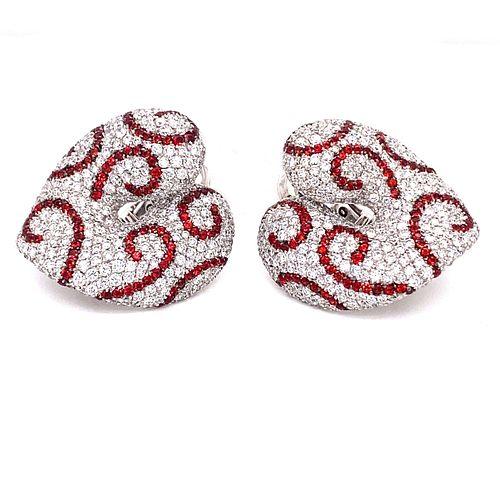 PALMIERO 18k Ruby Diamonds Heart Shaped Earrings
