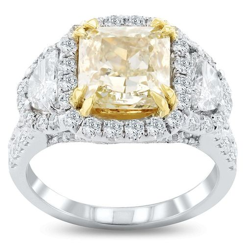 3.05ct Light Yellow Diamond 18KT White and Yellow Gold Ring