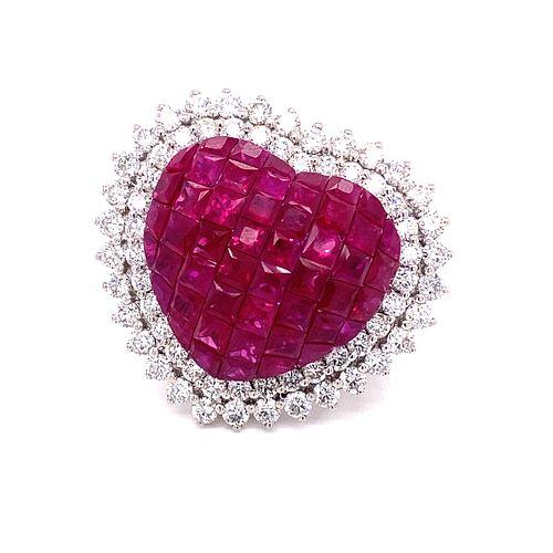 18k Diamond & Ruby Heart Ring
