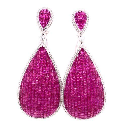 18k Diamond Ruby Earrings