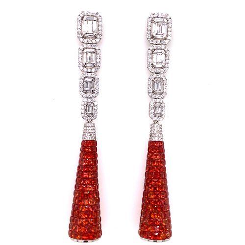 18k Diamond Orange Sapphire Drop Earrings