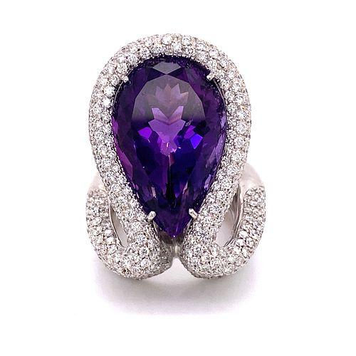18k PALMIERO Diamond Amethyst Ring