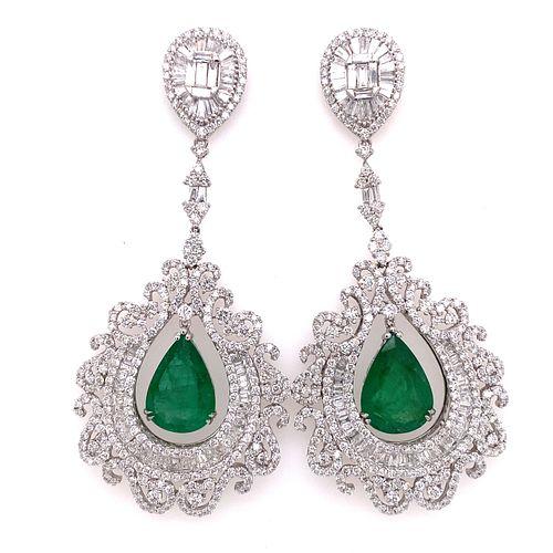 18k Diamond Emerald Chandelier Earrings