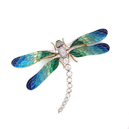 18k Platinum Plique a Jour Diamond Dragonfly