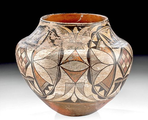Early 20th C. Acoma Polychrome Jar w/ Painted Motif