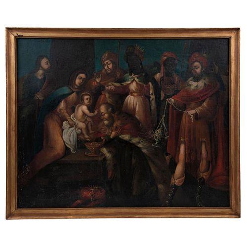 ADORACIÓN DE LOS REYES MAGOS MÉXICO, SIGLO XVIII Óleo sobre tela sobre tablero 112 x 90 cm