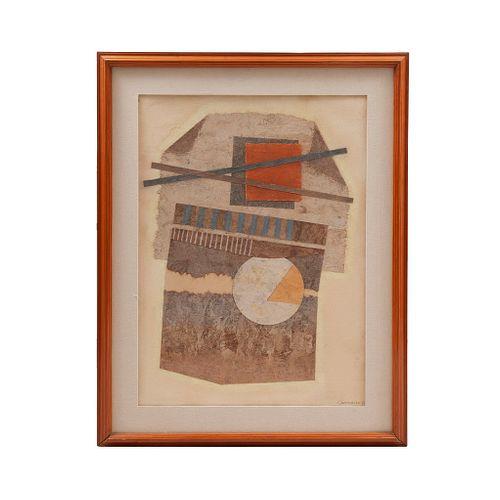 """JOSÉ LUIS SERRANO. """"Negación"""" Firmado y fechado '86. Pastel sobre papel amate. Enmarcado. 98 x 77 cm"""