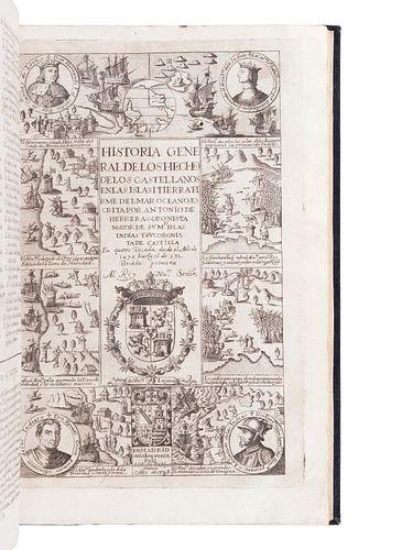 [AMERICAS]. HERRERA Y TORDESILLAS, Antonio de (1549-1625). Historia general de los hechos de los castellanos en las islas y tierra firme del mar ocean
