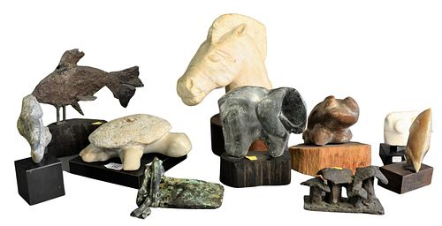 Ten piece carved animal sculptures to include three owls, one possibly Frank Eliscu; a bronze fish; a bronze double mushroom; one horse head; one ram