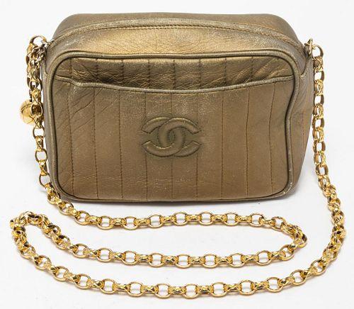 Chanel Gold-Tone Metallic Leather Camera Handbag