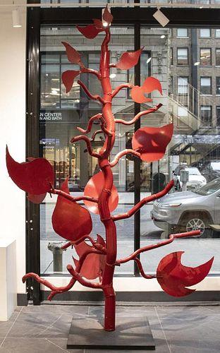 """Judith Brown """"Red Tree"""" Monumental Metal Sculpture"""