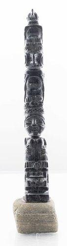 Northwest Coast Carved Soapstone Totem Pole