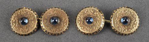 Antique 14K Yellow Gold Sapphire, Enamel Cufflinks