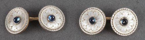 Art Deco 14K Gold Platinum Sapphire MOP Cufflinks