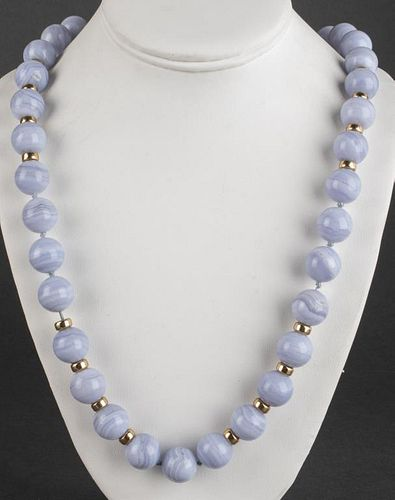 14K Yellow Gold & Lace Agate Bead Necklace
