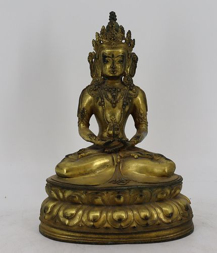 Antique Gilt Bronze Buddha