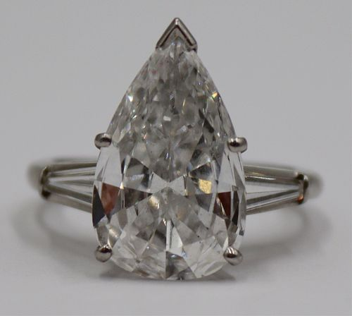 JEWELRY. 3.75+ Ct Pear-Shaped Diamond Ring.