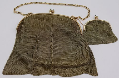 GOLD. Signed 14kt Gold Mesh Purse and Coin Purse.