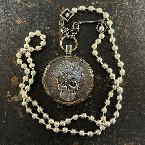 Frida Sugar Skull Honeybee Pocket Watch Necklace