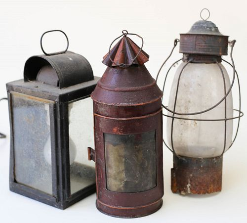 Three Antique Tin Lanterns