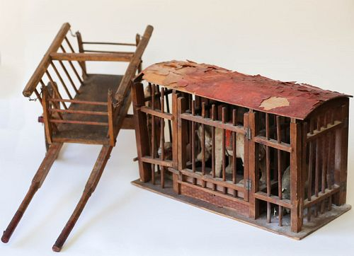Toy Circus Cage and Cart