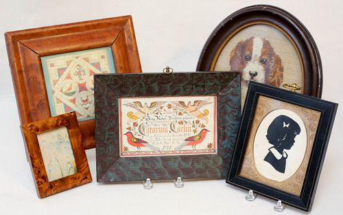Five Pieces of Framed Folk Art