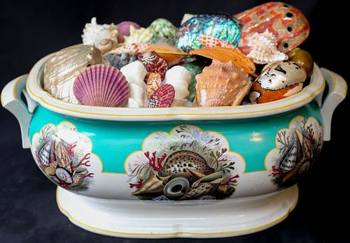 Ironstone Foot Bath with Shell Collection