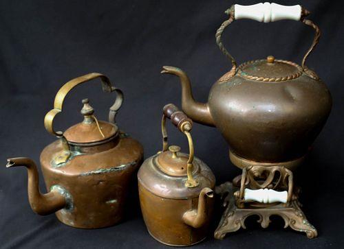 Three Antique Copper Kettles