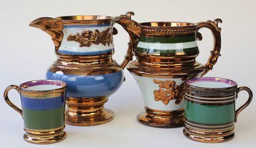 Four Pieces of Copper Lustre