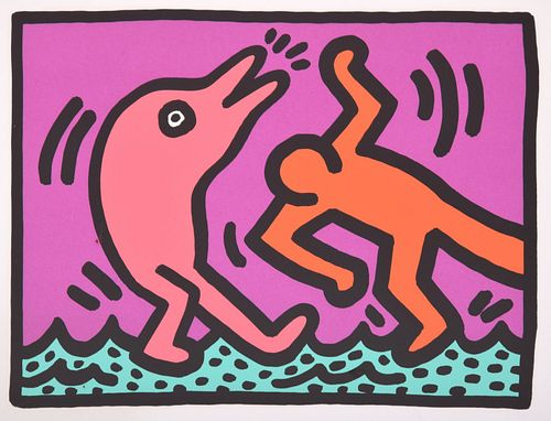Keith Haring Screenprint, Estate Stamped Edition