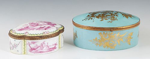 Two French Porcelain Ormolu Mounted Hand Painted Dresser Boxes, 20th c., one of domed cartouche form, the lid with a violet decoration of a couple in