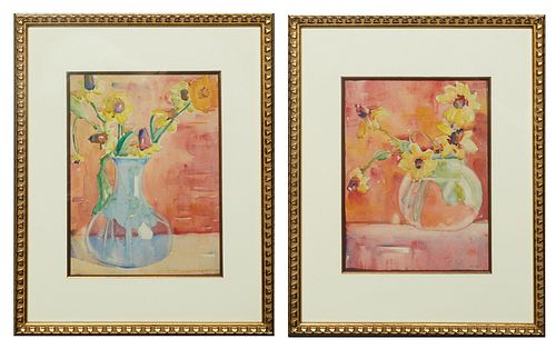 """Jane Randolph Whipple (1910-2007, Louisiana), """"Still Life of Flowers,"""" 20th c., pair of watercolors on paper, signed lower right, presented in a gilt"""